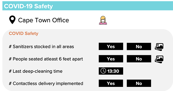 COVID safety checklist and COVID safety audit processes and workflows